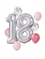 Kit palloncini 18 anni argento e rosa