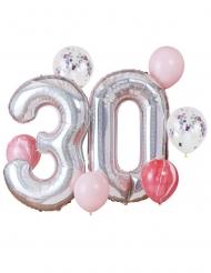Kit palloncini 30 anni argentato e rosa