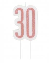 Candelina di compleanno 30 anni rosa paiettata