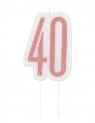 Candelina di compleanno 40 anni rosa paiettata