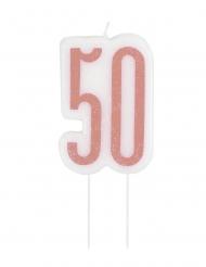 Candelina di compleanno 50 anni rosa paiettata