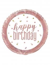 Palloncino alluminio Happy Birthday bianco e rosa