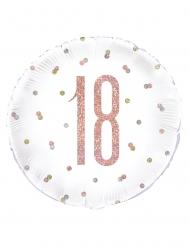 Palloncino in alluminio 18 anni bianco e rosa 45 cm