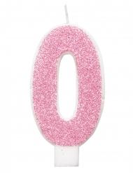 Candelina di compleanno numero rosa paiettata 7cm