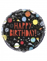 Palloncino alluminio Happy Birthday universo nero
