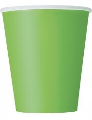 8 Bicchieri di carta verde chiaro 266ml