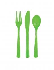 18 posate in plastica verde