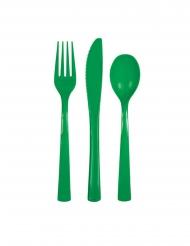 18 Posate in plastica verde scuro