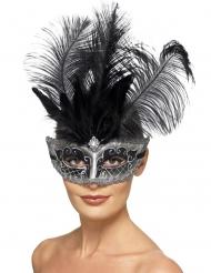 Maschera Colombina Veneziana grigia con piume adulto