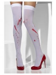 Calze bianche opache con macchie di sangue donna