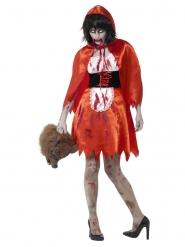 Costume Cappuccetto Rosso zombie satinato donna