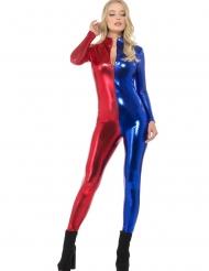 Costume tuta sexy blu e rossa donna