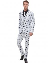 Costume bianco con ragni neri uomo