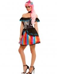 Costume dia de los muertos multicolore donna