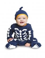 Costume tuta da piccolo scheletro blu bebe