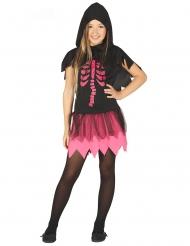 Costume vestito da scheletro fucsia per bambina