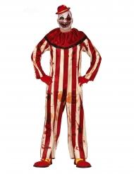 Costume da clown terrificante rosso e bianco uomo
