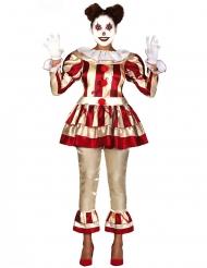 Costume clown terrificante rosso e bianco donna