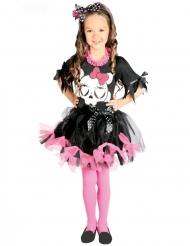 Costume tutù nero e rosa scheletro bambina