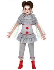 Costume clown assassino grigio bambina