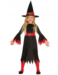 Costume strega con cappello nero e rosso bambina