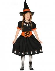 Costume streghetta con cappello nero e arancione bambina