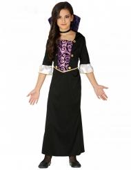Costume da giovane vampiro viola e nero bambina