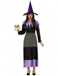 Costume da strega con cappello nero e lilla donna