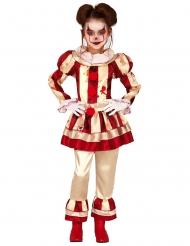 Costume clown terrificante rosso e bianco bambina