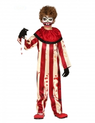 Costume clown terrificante rosso e bianco bambino