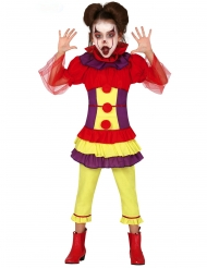 Costume clown malefico multicolore bambina