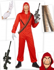 Set costume rapinatore rosso completo adulto