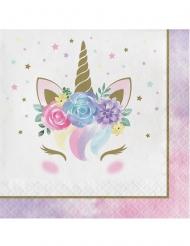 16 Tovaglioli in carta unicorno fatato bianchi