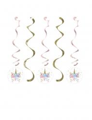 5 Sospensioni spirale unicorno fatato 76 e 99cm