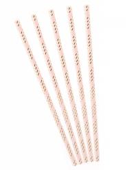 10 Cannucce in cartone rosa a righe oro metallizzato