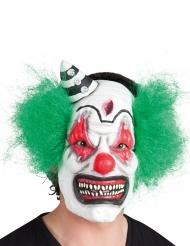 Maschera clown terrificante con capelli verdi