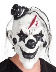 Maschera in lattice psycho clown nera e bianca con capelli