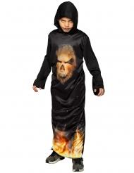 Costume tunica con cappuccio teschio infiammato bambino