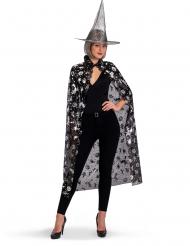 Set da strega cappello e mantello argentati donna