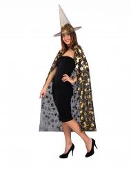 Set strega cappello e mantello dorati donna