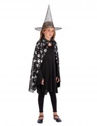 Kit da strega nero e argentato per bambina