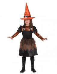 Costume graziosa strega arancione bambina