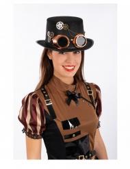 Cappello a cilindro steampunk con occhiali adulto