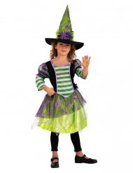Costume strega con ragno viola e verde bambina