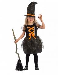 Costume streghetta brillante con cappello bambina