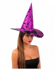Cappello viola da strega con pipistrelli 36 cm