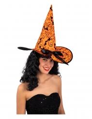 Cappello strega arancione con pipistrelli