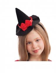 Cerchietto mini cappello da strega con fiocco