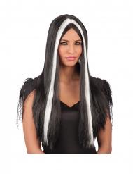 Parrucca lunga nera e bianca