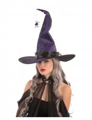 Cappello strega viola modellabile con ragno